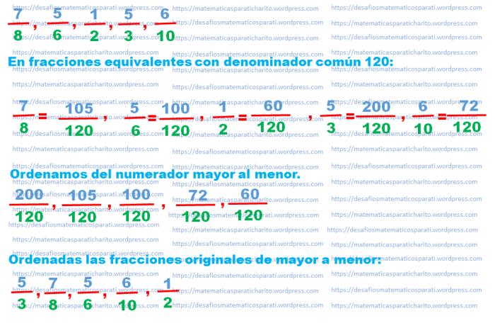 Ejercicio Resuelto Comparación De Fracciones Matematicas Para Ti