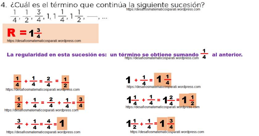 Cu l es la regularidad de la siguiente sucesi n for Cuanto es un cuarto